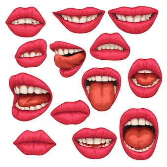 Conjunto de boca de mulher