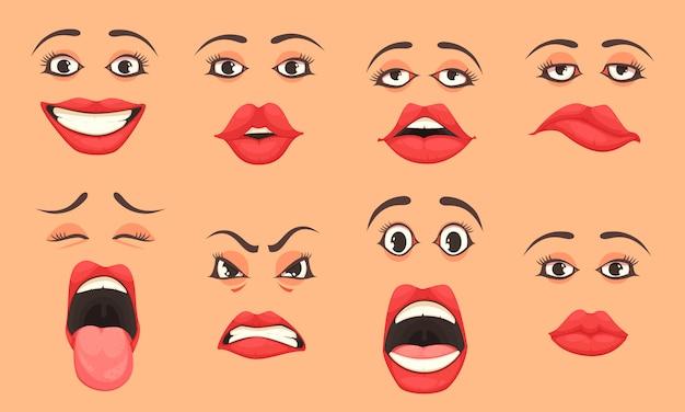 Conjunto de boca de mulheres dos desenhos animados