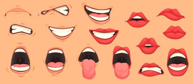 Conjunto de boca dos desenhos animados