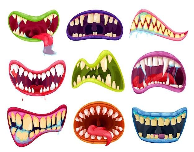 Conjunto de boca e dentes de monstros de halloween. desenhos animados de expressões de sorriso assustador com línguas de animais alienígenas, lábios assustadores de criaturas de vampiros, animais, demônios ou demônios e presas com sangue e saliva