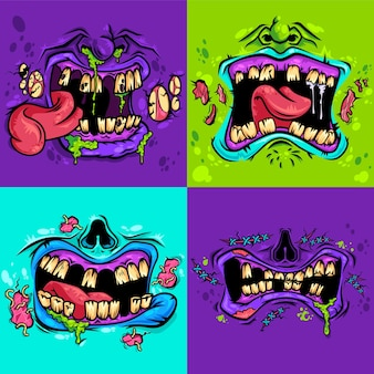 Conjunto de bocas zumbis