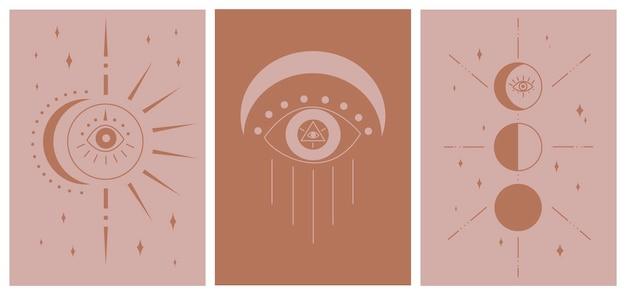 Conjunto de boho esotérico minimalista decoração de parede resumo fases da lua eclipse solar fundo de mau-olhado para mídias sociais postagens de histórias em tom de terra ilustração vetorial desenhada à mão design plano