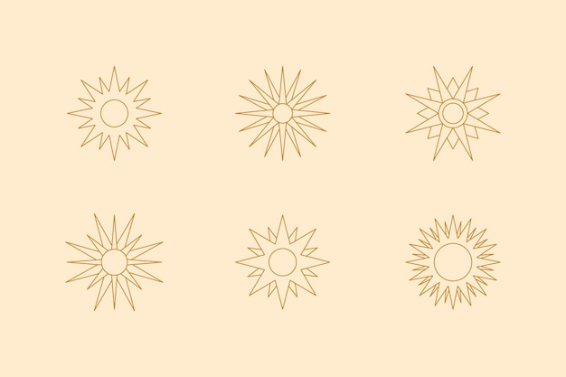 Conjunto de boho sun em estilo moderno de forro mínimo. ícone vetorial, logotipo, etiquetas, emblemas para impressão de camisetas, criação de padrões, postagens em mídias sociais e histórias