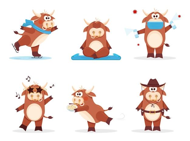 Conjunto de boi feliz ano novo chinês da vaca