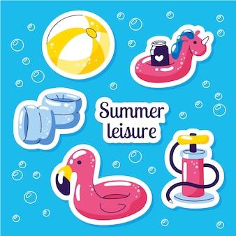 Conjunto de bóia inflável para natação. adesivos de verão festa de praia