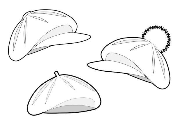 Conjunto de boinas de diferentes tipos boina clássica com viseira boina com pompom e viseira