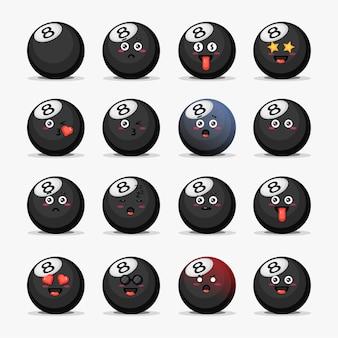 Conjunto de bola de bilhar fofa com emoticons