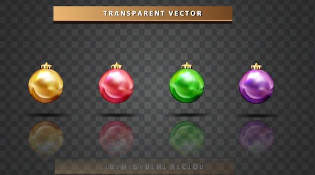Conjunto de bola de coleção colorido fundo transparente de feliz natal