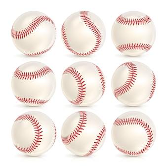 Conjunto de bola de couro de beisebol isolado