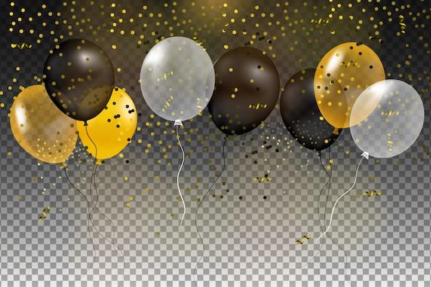 Conjunto de bola de hélio ouro, preto, amarelo e branco, isolada no ar. modelo de plano de fundo de celebração com balões, confetes e fita em um fundo transparente ilustração.