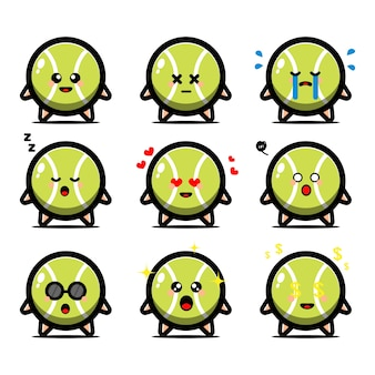 Conjunto de bola de tênis fofa com personagem de desenho animado de expressão