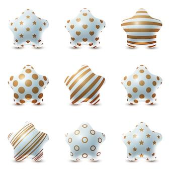 Conjunto de bola de textura - balões de estrelas realistas