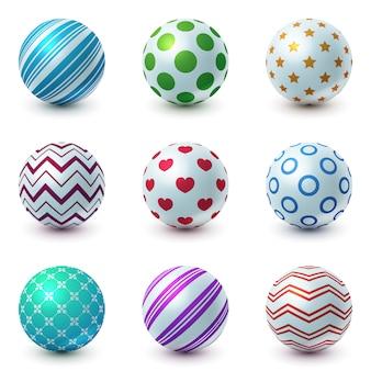 Conjunto de bola de textura - ícone realista.