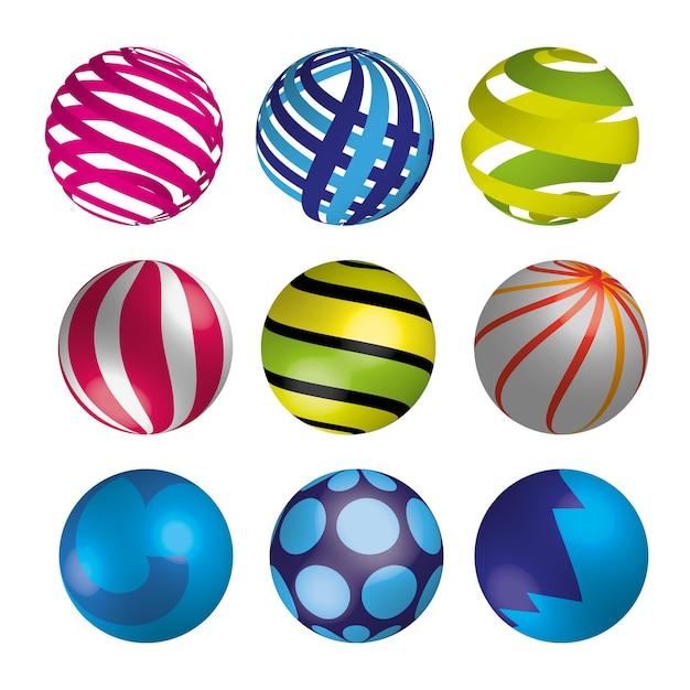 Conjunto de bolas 3d coloridas brilhantes realistas. ilustração vetorial.