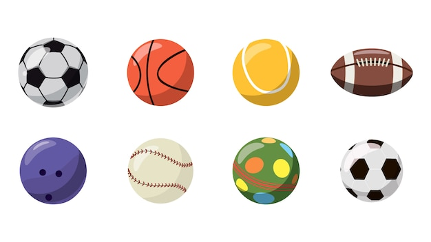 Conjunto de bolas. caricatura, jogo, de, bolas
