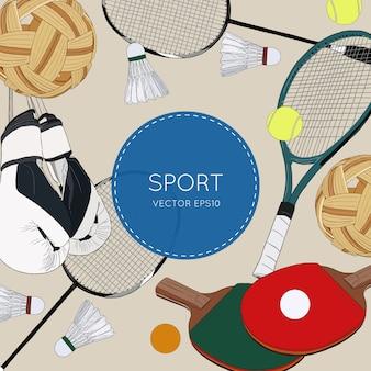 Conjunto de bolas coloridas esporte e itens de jogos.