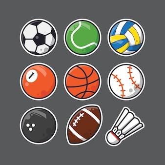 Conjunto de bolas com design plano vecto