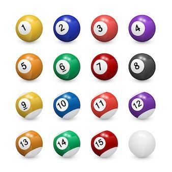 Conjunto de bolas de bilhar em fundo branco, ilustração