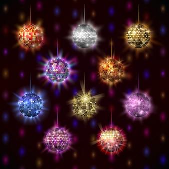 Conjunto de bolas de discoteca.