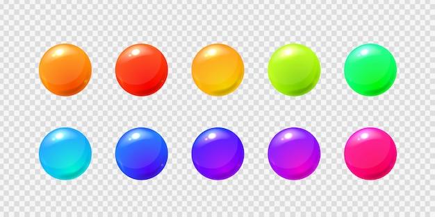 Conjunto de bolas de esfera realistas no fundo transparente para decoração e cobertura.