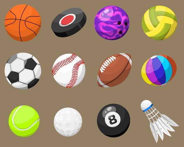 Conjunto de bolas de esporte isolado