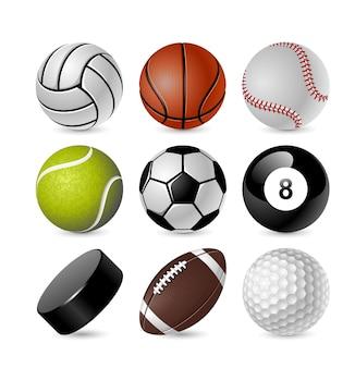 Conjunto de bolas de esportes em um fundo branco no vetor eps 10