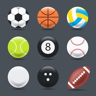 Conjunto de bolas de esportes em um fundo preto, estilo realista.