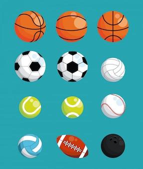 Conjunto de bolas de esportes