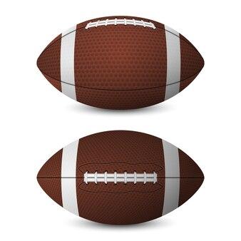 Conjunto de bolas de futebol americano - vista frontal, vista lateral - isolado no fundo branco.