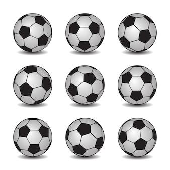 Conjunto de bolas de futebol realista com sombras