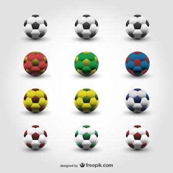 Conjunto de bolas de futebol vetor