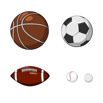 Conjunto de bolas de mão desenhada. ilustração