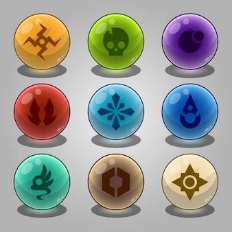 Conjunto de bolas de mármores