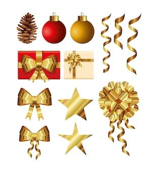 Conjunto de bolas de natal, caixa de presente, estrelas, fitas e ilustração de pinheiros