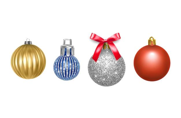 Conjunto de bolas de natal coloridas de fundo de ano novo