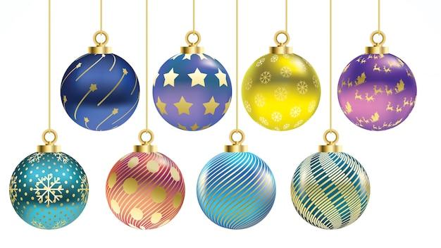 Conjunto de bolas de natal coloridas de vetor com ornamentos. coleção isolada decoração realista