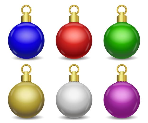 Conjunto de bolas de natal coloridas de vetor