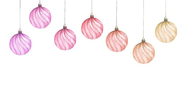 Conjunto de bolas de natal coloridas. ilustração em aquarela.