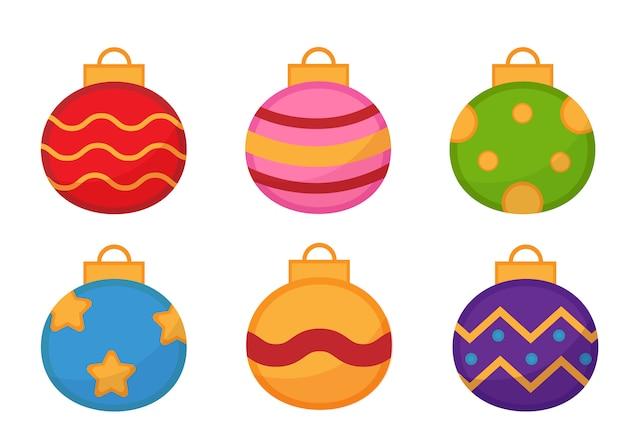 Conjunto de bolas de natal coloridas