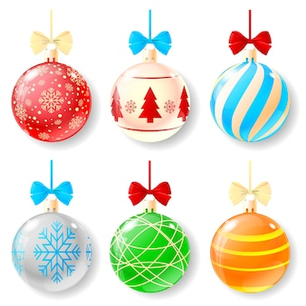 Conjunto de bolas de natal de desenho animado