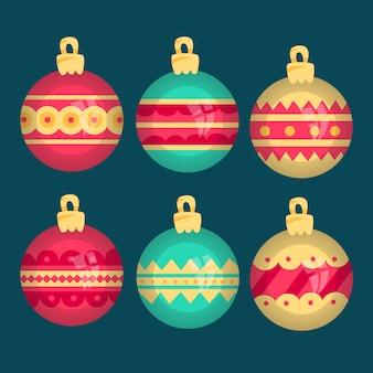 Conjunto de bolas de natal de design plano