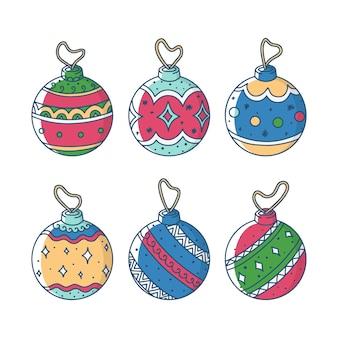 Conjunto de bolas de natal de mão desenhada