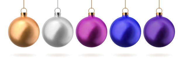 Conjunto de bolas de natal de vidro nas cores ouro prata azul rosa e roxo