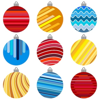 Conjunto de bolas de natal. decorações de natal em fundo branco.
