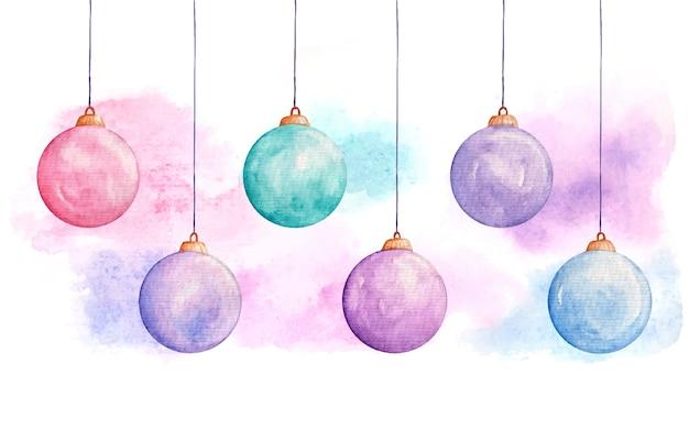 Conjunto de bolas de natal em aquarela e enfeites de ano novo