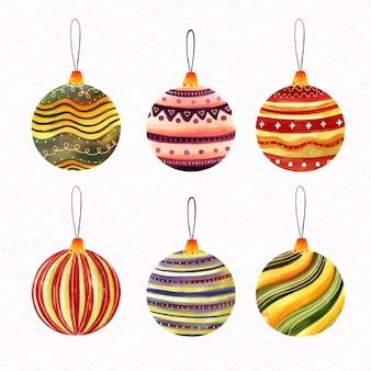 Conjunto de bolas de natal em aquarela