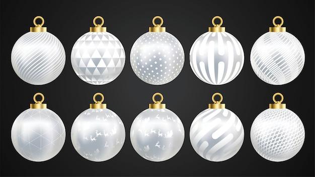Conjunto de bolas de natal ouro e prata de vetor com ornamentos