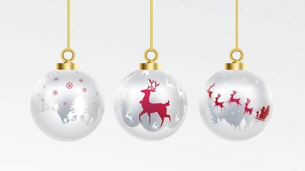 Conjunto de bolas de natal ouro vermelho e prata de vetor