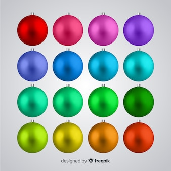 Conjunto de bolas de natal realista
