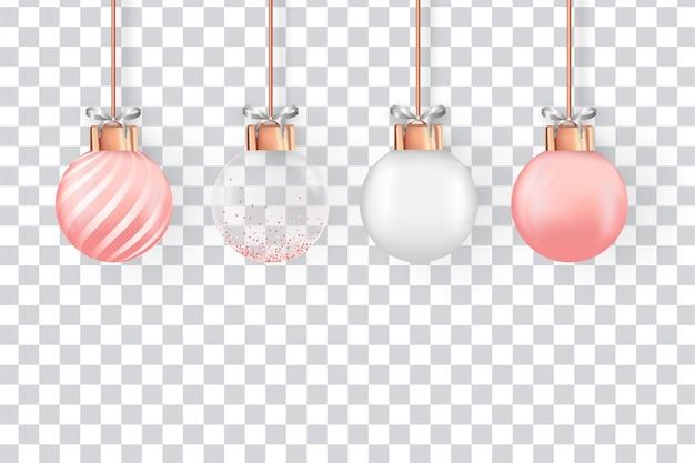 Conjunto de bolas de natal realistas e modernas